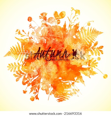 Watercolor painted autumn leaves - vector illustration