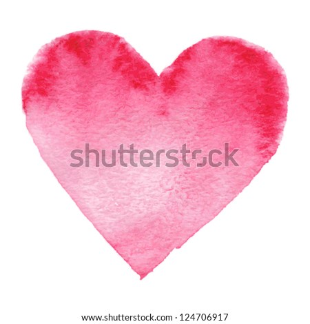 Watercolor painted red heart, vector element for your design
