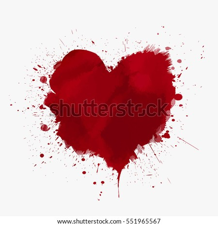 Watercolor painted vector red Heart Shape Watercolour Background. Illustration for Wedding cards, Valentine Day Greetings