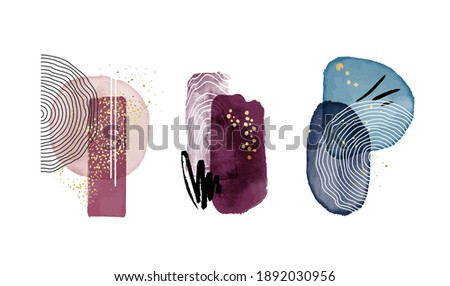 Watercolor painting aesthetic background. Home decoration set, simple violet navy design. Rectangle square shapes, minimal abstract template. Modern bauhaus line art  Stockfoto ©