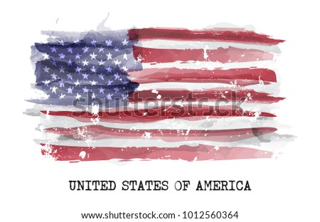 watercolor painting flag of...