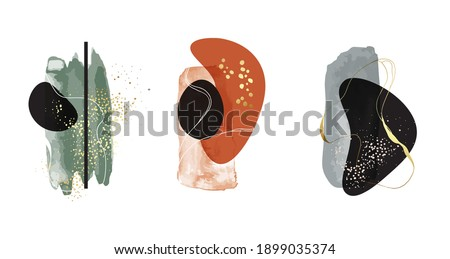 Watercolor painting green rustic earth tone gold, chic background. Marble abstract background glitter template, Acrylic border advertising shapes in vector, brochure design. Сток-фото ©