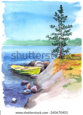Stock Photo Watercolor painting of a stony bank of a lake or a river with a fisherman boat, stones and a pine tree. Vectorized illustration.