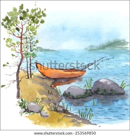 Stock Photo Watercolor painting of bank lake or river with fisherman boat with fishing roods in it, stones and pines. Vectorized illustration.