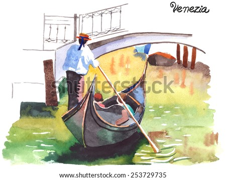 watercolor painting of gondola