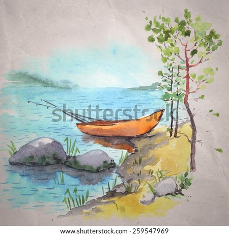 Watercolor painting on a craft paper background. A bank of a lake or a river with a fisherman boat with fishing roods in it, stones and pines. Vector illustration.