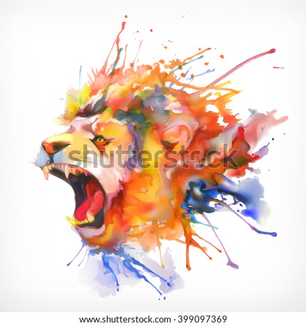 watercolor painting roaring