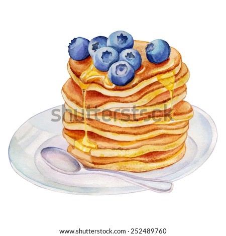 watercolor pancakes with