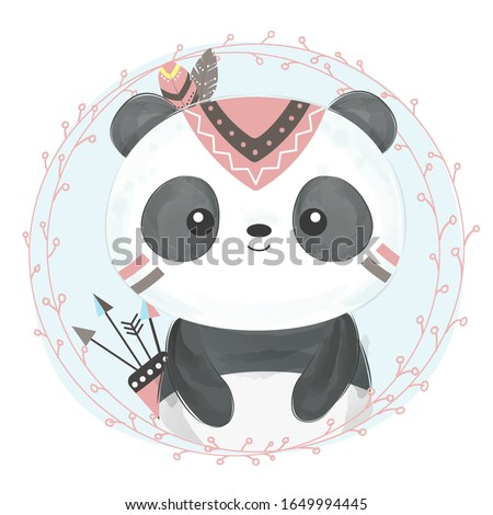 watercolor panda illustration. animal clipart for scrapbooking and decoration.