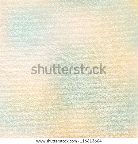 Watercolor paper vintage texture with damages, folds and scratches. Old blank background with space for text. Green, blue, brown, beige color spots. Vector illustration design element in 8 eps