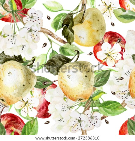 watercolor pattern with apples