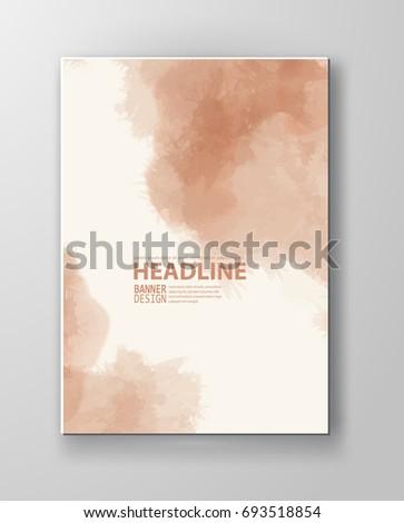 Watercolor peach color design banner . Vector illustration