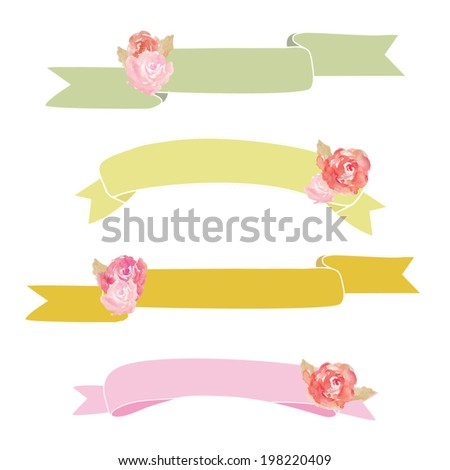 Watercolor Peony Flowers With Vector Ribbons