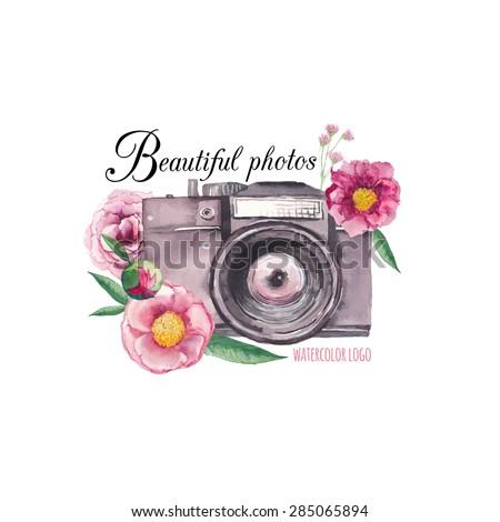 watercolor photo label hand