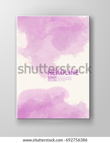 Watercolor pink color design banner . Vector illustration