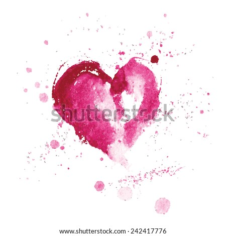 watercolor pink heart for