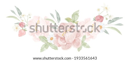 watercolor pink peony flower bouquet isolated on white background digital painting