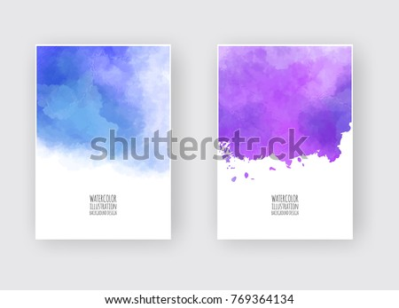 Stock Photo Watercolor pink purplecolor design banners set. Vector illustration