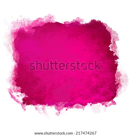 Watercolor pink square paint stain isolated on a white background