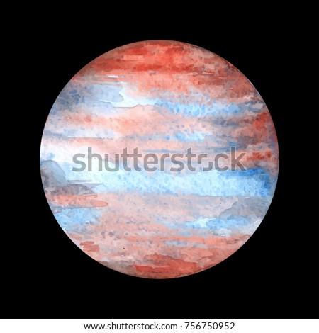 watercolor planet jupiter on