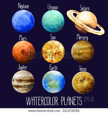 watercolor planets sun