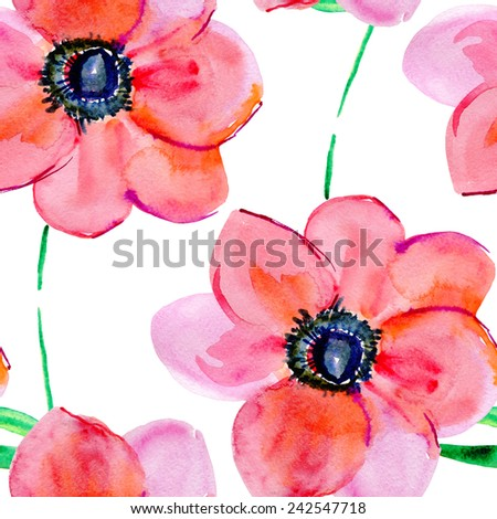 Watercolor poppy flower Seamless vector background