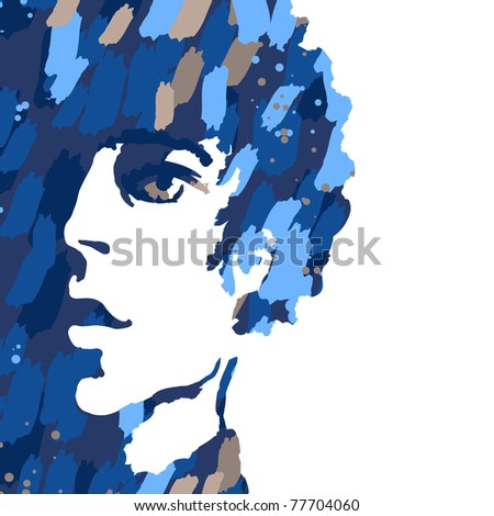 Watercolor portrait of young man isolated on white - stock vector