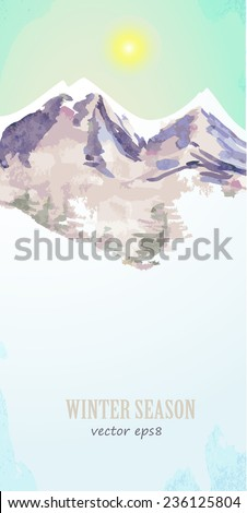 watercolor poster with mountain