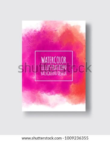 Watercolor poudre, pink, fuchsia color design banner. Vector illustration