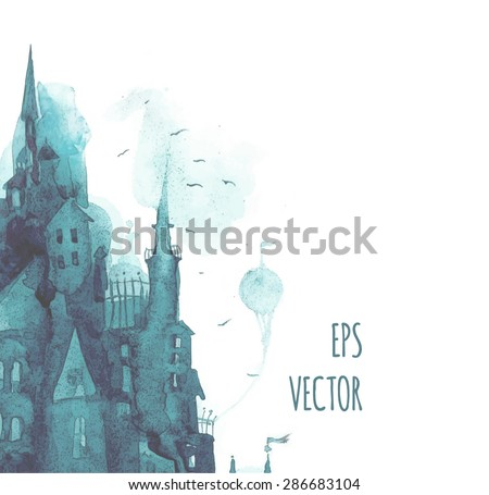 watercolor print with town