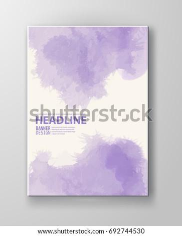 Watercolor purple color design banner . Vector illustration
