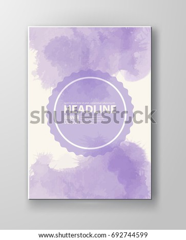Watercolor purple color design banner . Vector illustration