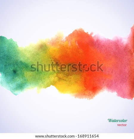 Watercolor rainbow border. Vector illustration. Grunge paper template. Water, wet paper. Blobs, stain, paints blot. Composition for scrapbook elements. Invitation or greeting card design.