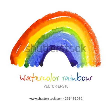 watercolor rainbow bright