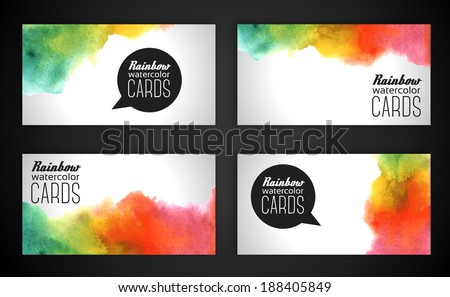 Rainbow business card download free vector art stock graphics watercolor rainbow business cards vector illustration blobs and stain paints blot composition reheart Choice Image