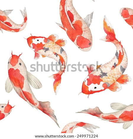watercolor rainbow carp pattern