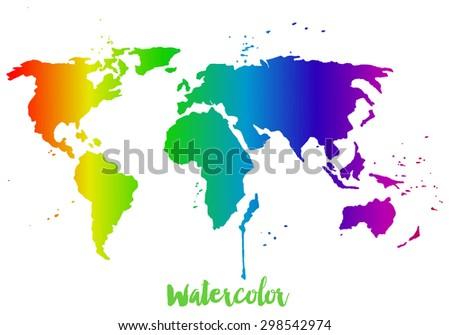 watercolor rainbow map