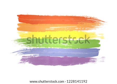 Watercolor rainbow spectrum flag of Gay Pride Movement, homosexuality emblem isolated on white background. LGBT rights concept. Modern parades poster, placard, invitation card design. EPS 10