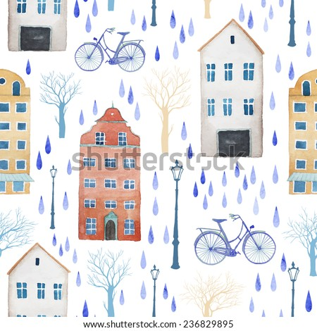 Watercolor rainy city of Europe pattern Seamless texture with buildings trees lamps and rain drops White background