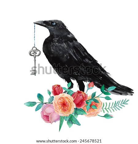 watercolor raven with vintage