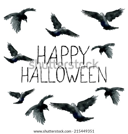 Watercolor ravens Halloween card Vector design