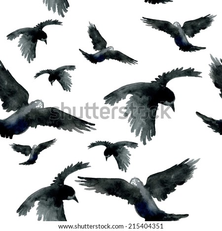 watercolor ravens seamless