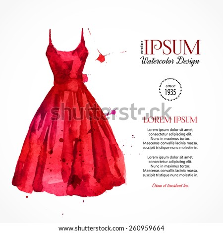 watercolor red dress vector