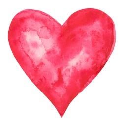 Watercolor red heart icon with splash closeup isolated on white background. Valentines day holiday card. Hand painting on paper. Art design element