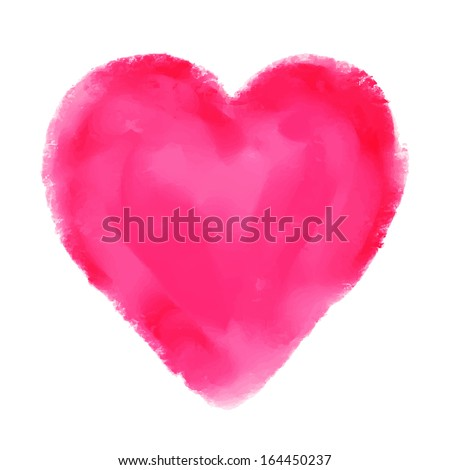 watercolor red heart isolated