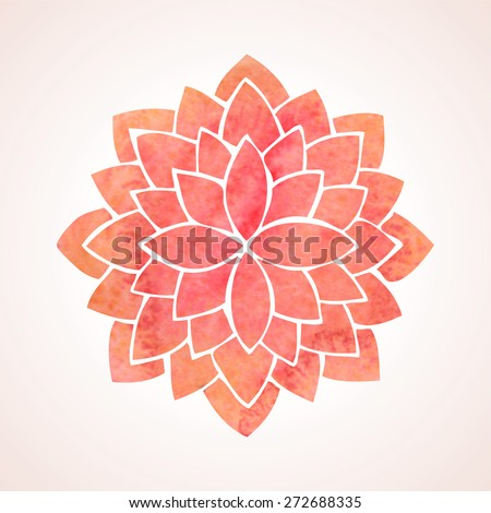 watercolor red lotus flower
