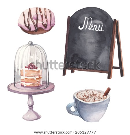watercolor restaurant interior