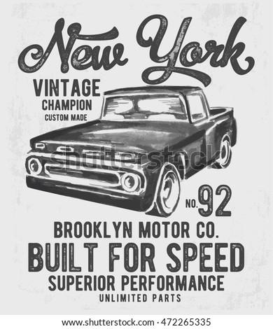 watercolor retro car with...
