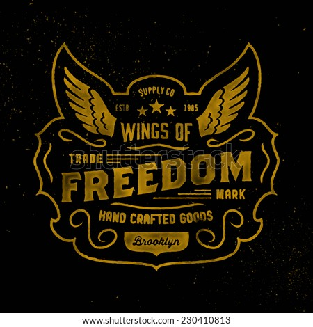 Watercolor retro t-shirt apparel graphic design, vintage hand crafted logo 'Wings of Freedom' supply company, vector illustration on dark background