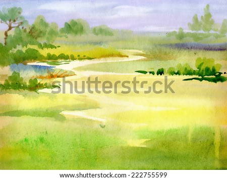 watercolor river nature
